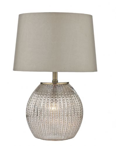 Dar Sonia Table Lamp Antique Silver complete with Shade Dual Source SON4232 (Double Insulated)